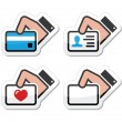 Hand holding credit card, business card, ID icons set as labels — Stock Vector