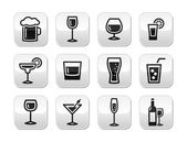 Drink alcohol beverage vector buttons set — Stock Vector