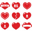 Love hearts icons set for Valentines Day — Stock Vector