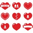 Love hearts icons set for Valentines Day — Stock Vector #16933049