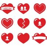 miłość serca ikony ustaw na Walentynki — Wektor stockowy