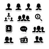 Man woman user vector icons set — Stock Vector