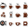 Coffee icons on labels set - 图库矢量图片