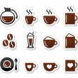 Coffee icons on labels set - Stockvektor