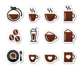 Coffee icons on labels set — Wektor stockowy