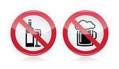 Alkol sorunu - alkol, bira uyarı yok — Stok Vektör