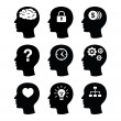 Head brain vector icons set — 图库矢量图片