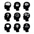 set d'icônes cerveau tête vector — Vecteur