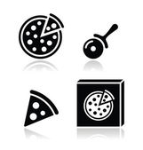 Pizza vector icons set with reflections — Stock Vector