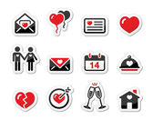 Valentines Day love icons set as labels — Stock Vector