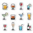 Drink alcohol beverage icons set as labels - Imagen vectorial