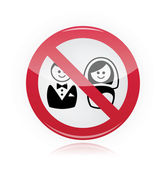 No marriage, no wedding, no love warning red sign — Stock Vector