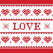 Valentines Day, love knitted pattern, card - scandynavian sweater style — Stockvektor