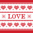 Valentines Day, love knitted pattern, card - scandynavian sweater style — Stock vektor