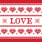 Valentines Day, love knitted pattern, card - scandynavian sweater style — Stock Vector