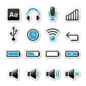 Electronic device / Computer software icons set as labels — Stock Vector