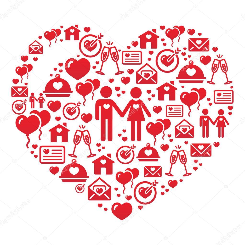 Открытка сердце из слов 869