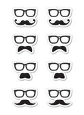 Geek glasses and moustache or mustache vector labels — Stock Vector
