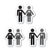 Hetero, gay, and lesbian love couples labels set — 图库矢量图片