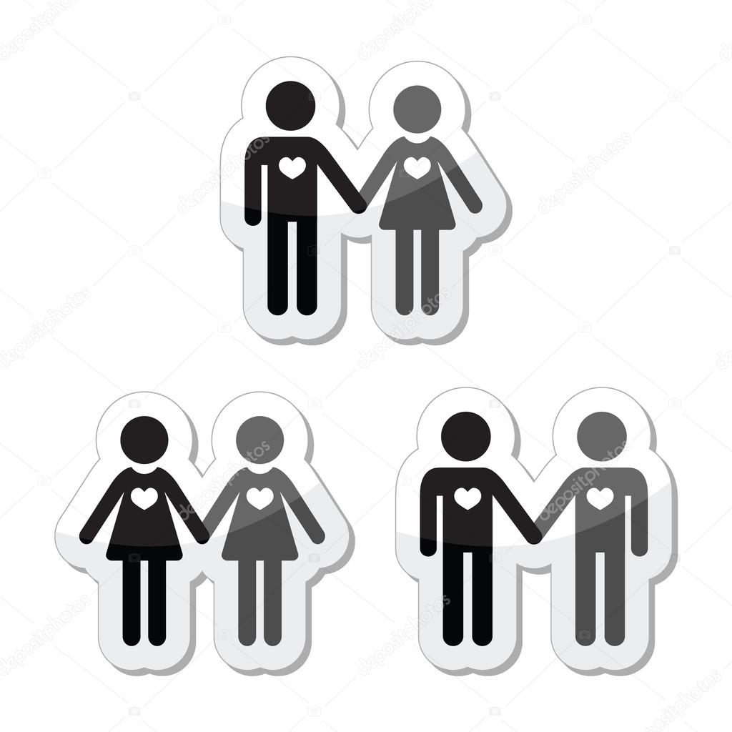 Relationship diverstiy icons set - 2 men, 2 women, man and woman — Stock Vector #18246861