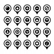 Map location markers, pointers vector icons set - Stock Vector