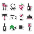 Wine labels set - glass, bottle, restaurant, food — Stock Vector