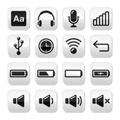 Electronic device / Computer software buttons set - vector — Stock Vector