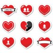 Love hearts labels set for Valentines Day — Stock Vector