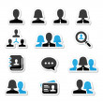 Businessman businesswoman user vector icons set — Stock Vector