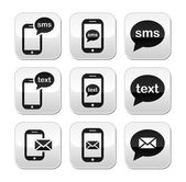 Mobiele sms tekst bericht e-mail knoppen set — Stockvector