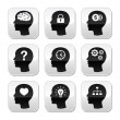 Head brain vector buttons set - Stock Vector