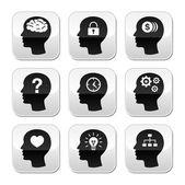 Głowa, mózg wektor zestaw przycisków — Wektor stockowy