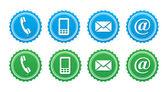 связаться ретро этикетки набор - синий и зеленый — Стоковое фото