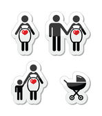 Pregnant woman vector icons set — Stock Vector