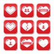 Love Herz Buttons/Anstecker set zum Valentinstag — Stockvektor
