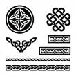 图库矢量图片: Celtic knots, braids and patterns - vector