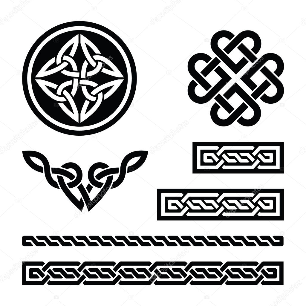 Set od traditional Celtic symbols in black — Stock Vector #19183825