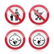 Stock Vector: Warning sign: no babies, no children