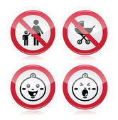 Warning sign: no babies, no children — Stock Vector
