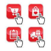 Nakupování tlačítka nastavit kurzor ruky ikonou — Stock vektor