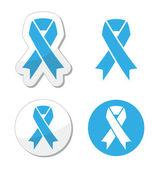 Blue ribbon - prosate cancer, childhood cancer aweresness symbol — Vettoriale Stock
