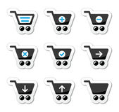 Shopping cart vector icons set — Stock Vector
