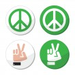 Peace, hand sign vector icons set — Stock Vector