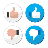 Thumb up and down like vector icon set — Stock Vector