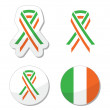 Royalty-Free Stock Vector Image: Irish ribbon flag labels - St Patricks Day celebration