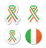 Irish ribbon flag labels - St Patricks Day celebration — Stock Vector