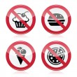 Stock Vector: No fast food, no sweets warning red sign