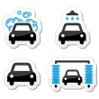 Stock Vector: Car wash icons set - vector