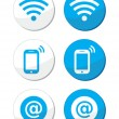 Wifi network, internet zone blue labels set - vector — Stock Vector #19987249