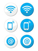 Wifi network, internet zone blue labels set - vector — Stock Vector
